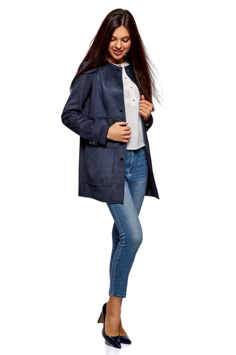 Пальто женское oodji Ultra, цвет: темно-синий. 18R03002/46467/7900N. Размер 40-170 (46-170)18R03002/46467/7900NПальто от oodji выполнено из искусственной замши. Модель с длинными рукавами и круглым вырезом горловины застегивается на кнопки, по бокам дополнена накладными карманами.
