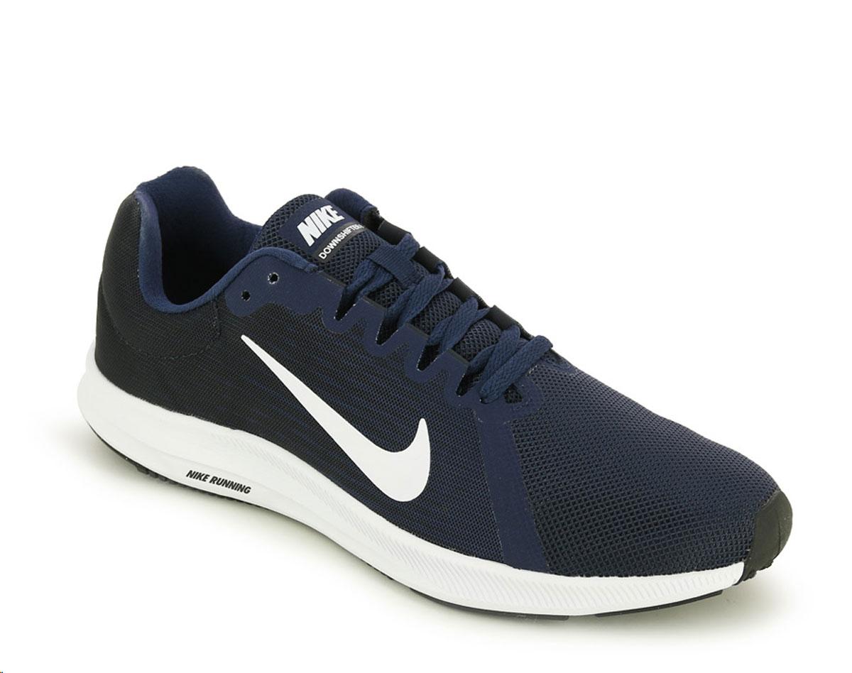 Кроссовки для бега мужские Nike Downshifter 8, цвет: темно-синий. 908984-400. Размер 10,5 (43,5)908984-400Мужские беговые кроссовки Downshifter 8 от Nike в минималистичном стиле выполнены из легкой однослойной сетки с обновленной амортизирующей стелькой, еще более мягкой, чем в предыдущих версиях. В сочетании с ремешком в области свода стопы, объединенным со шнурками, это обеспечивает индивидуальную посадку и плавный переход с пятки на носок. Верх из легкой сетки обеспечивает вентиляцию и комфорт. Регулируемый ремешок в области свода стопы обеспечивает индивидуальную посадку. Обновленная промежуточная подошва для мягкой и упругой амортизации. Рельефная конструкция внутренней части для безупречной посадки и удобного обувания. Эластичная полноразмерная подошва из материала Phylon обеспечивает упругую и легкую амортизацию, ее обновленная версия превосходит предшествующие по мягкости. Перепад: 10 мм (носок 13 мм, пятка 23 мм). Колодка: MR-10.