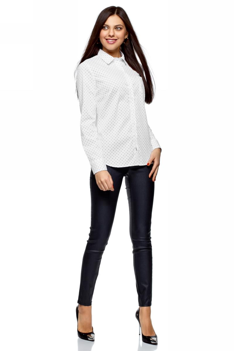 Рубашка женская oodji Ultra, цвет: белый, черный, горох. 13K03007B/26357/1229D. Размер 40-170 (46-170)13K03007B/26357/1229DРубашка от oodji выполнена из эластичного хлопка. Модель с длинными рукавами и отложным воротником застегивается на пуговицы, на груди дополнена накладным кармашком.