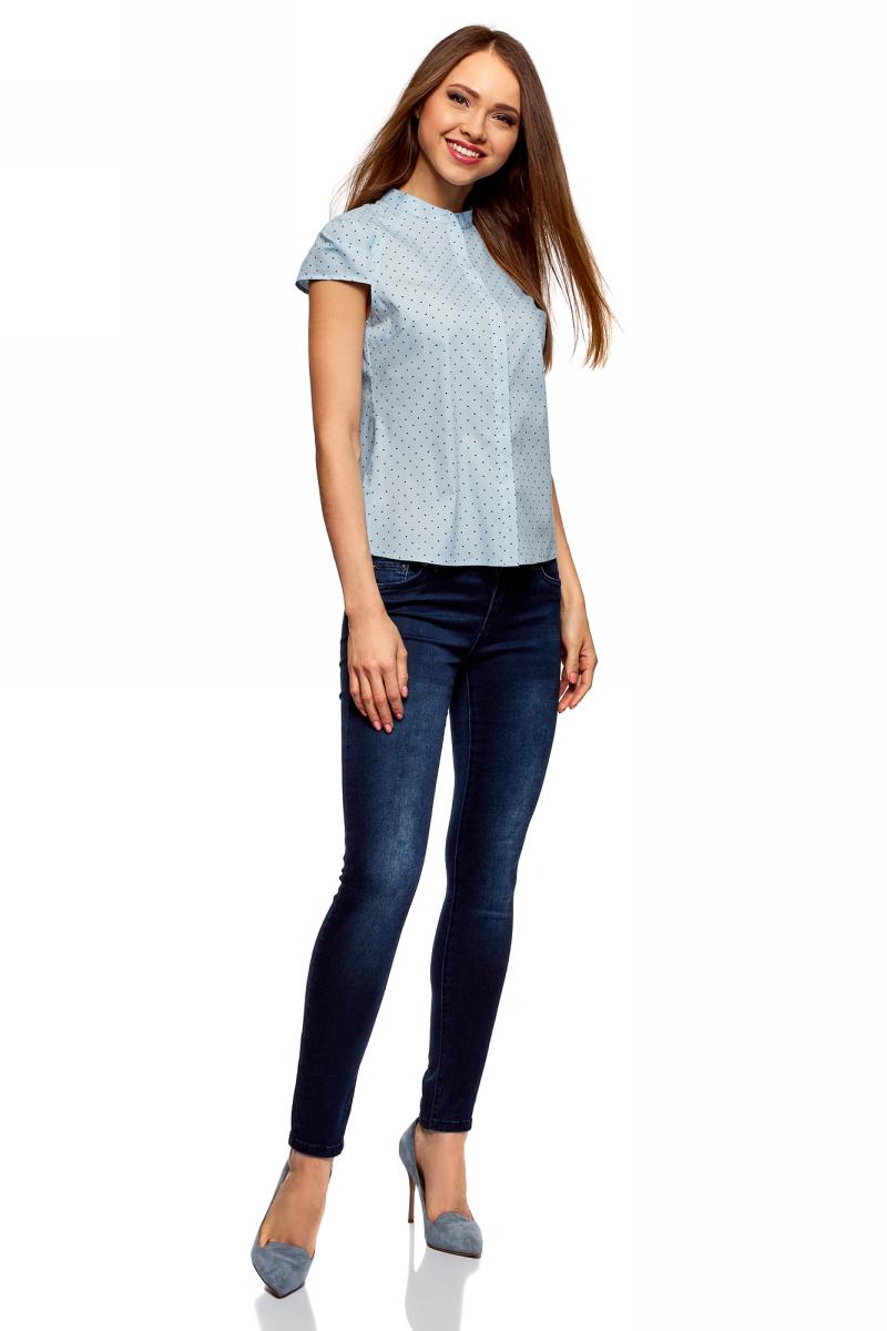 Рубашка женская oodji Ultra, цвет: голубой, черный. 13K03006B/26357/7029Q. Размер 42-170 (48-170)13K03006B/26357/7029QРубашка от oodji выполнена из эластичного хлопка. Модель с воротником-стойкой и коротким рукавом реглан застегивается на пуговицы.