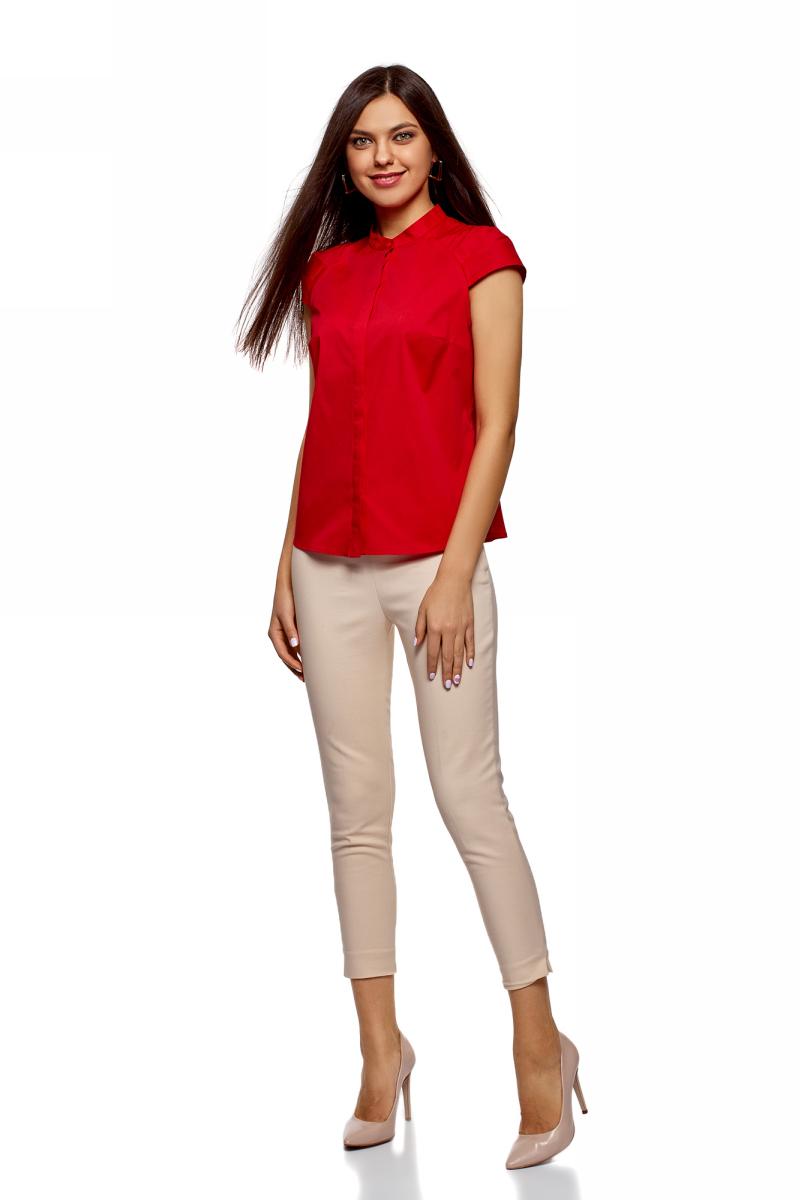 Рубашка женская oodji Ultra, цвет: красный. 13K03006B/26357/4500N. Размер 42-170 (48-170)13K03006B/26357/4500NРубашка от oodji выполнена из эластичного хлопка. Модель с воротником-стойкой и коротким рукавом реглан застегивается на пуговицы.