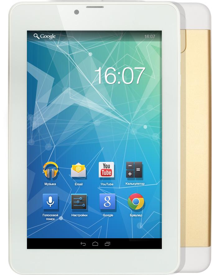Tesla Neon Blanc 7.0 3G, GoldУТ-00000198Tesla Neon Blanc 7.0 3G практичный планшетный компьютер. Четырёх ядерный процессор с частотой 1.3 ГГЦ и 1 ГБ оперативной памяти позволит с легкостью пользоваться многочисленными приложениями для Android. Диагональ IPS дисплея 7. Разрешение экрана 1280х800 пикселей позволит просматривать фильмы в хорошем качестве. Встроенная память объемом 8 ГБ и карточка microSD вместит всю необходимую информацию. Модули 3G и Wi-Fi обеспечивают постоянный доступ к сети интернет. При помощи встроенного GPS-модуля вы всегда сможете определить точное местонахождение.Планшет сертифицирован EAC и имеет русифицированный интерфейс, меню и Руководство пользователя.