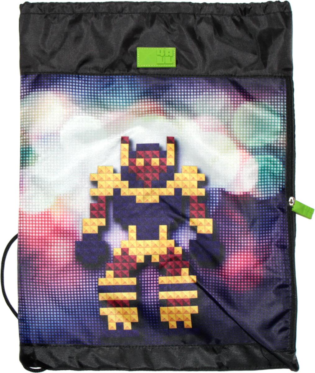 4ALL Сумка для сменной обуви Kids РоботM61-11Мешок 4ALL Робот из прочной водооттлкивающей ткани с боковым карманом!