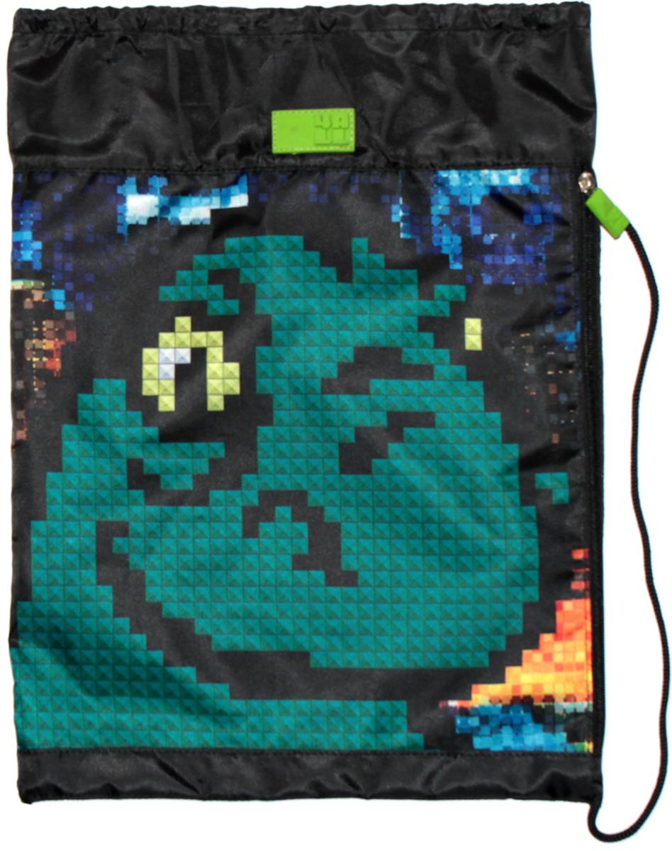 4ALL Сумка для сменной обуви Kids ДинозаврM61-13Мешок 4ALL Динозавр из прочной водооттлкивающей ткани с боковым карманом!