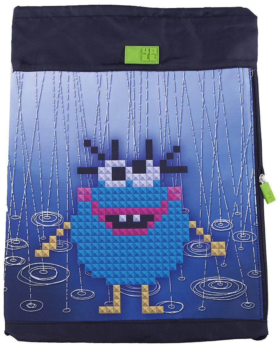 4ALL Сумка для сменной обуви Kids Голубой монстрM61-08Мешок 4ALL Голубой монстр из прочной водооттлкивающей ткани с боковым карманом!