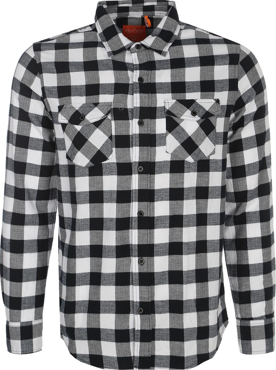 Рубашка мужская Sela, цвет: черный, белый. H-412/026-8112. Размер M (48)H-412/026-8112Мужская рубашка Sela выполнена из натурального хлопка. Модель с длинными рукавами и отложным воротником застегивается напуговицы спереди. Манжеты рукавов также застегиваются на пуговицы.Рубашка оформлена принтом в клетку. На груди расположены два накладныхкармана с клапанами на пуговицах.
