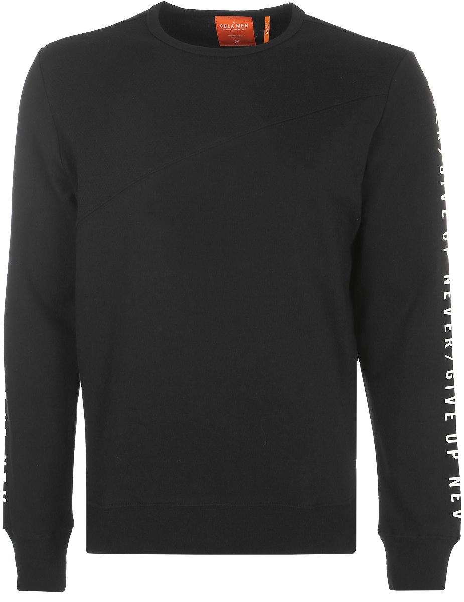 Джемпер мужской Sela, цвет: черный. St-413/009-8112. Размер XXS (42)