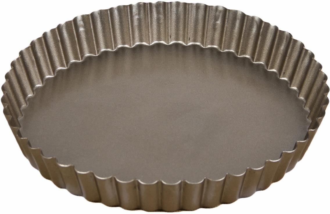 Форма для выпечки Доляна Рифленый круг. Доротея, с антипригарным покрытием, цвет: коричневый, 23 х 3 см830047_коричневыйФорма с антипригарным покрытием пригодится каждому повару, который привык готовить быстро и вкусно. Достоинства предмета Материал — углеродистая сталь — отличается особой прочностью и сохраняет все эксплуатационные свойства при температуре до +450 °С. Эффективное теплораспределение ускоряет процесс готовки. Антипригарное покрытие оберегает блюда от пригорания и сокращает расход масла. Поверхность не впитывает запахов и не вступает в реакции с продуктами питания. Форма легко отмывается. При аккуратном использовании изделие прослужит долгие годы. Рекомендуется избегать применения металлических предметов, губок и высокоабразивных моющих средств. Перед первым использованием тщательно промойте форму.