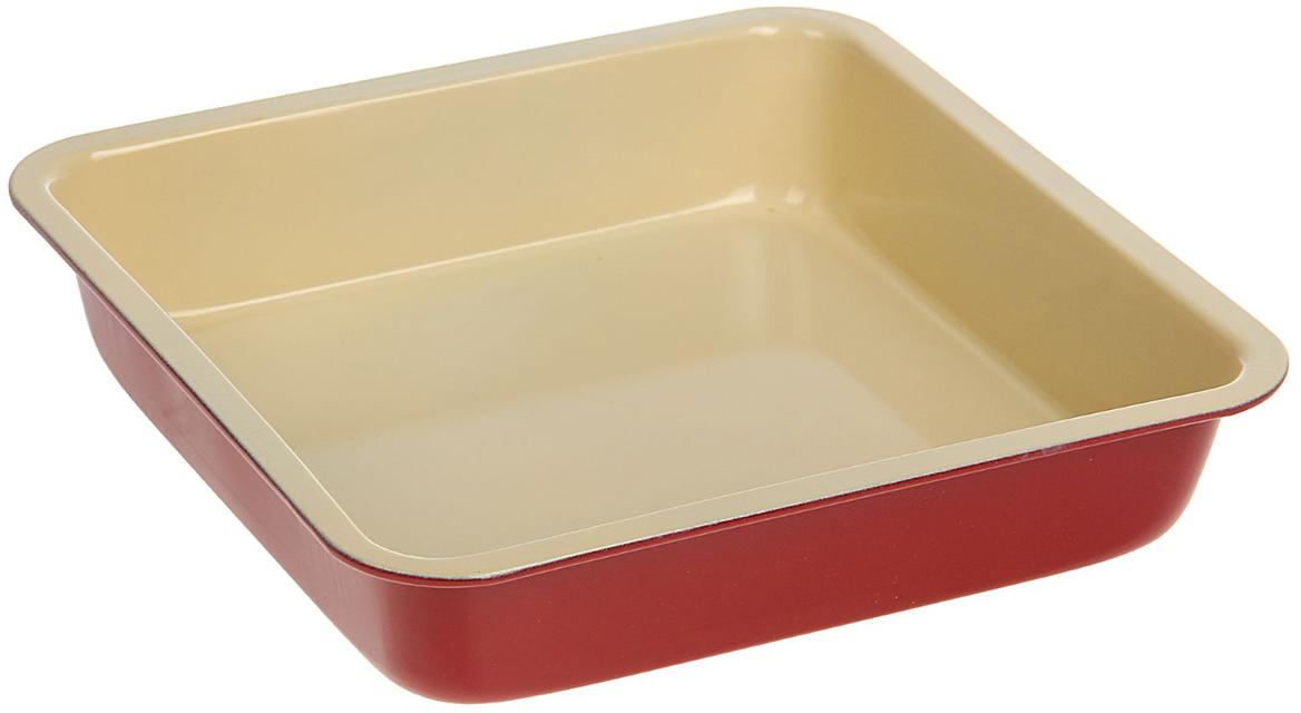 Форма для выпечки Доляна Флери. Квадрат, с антипригарным покрытием, цвет: желтый, красный, 22 х 22 х 5 см118277_желтый, красныйФорма с антипригарным покрытием пригодится каждому повару, который привык готовить быстро и вкусно. Достоинства предмета Материал — углеродистая сталь — отличается особой прочностью и сохраняет все эксплуатационные свойства при температуре до +450 °С. Эффективное теплораспределение ускоряет процесс готовки. Антипригарное покрытие оберегает блюда от пригорания и сокращает расход масла. Поверхность не впитывает запахов и не вступает в реакции с продуктами питания. Форма легко отмывается. При аккуратном использовании изделие прослужит долгие годы. Рекомендуется избегать применения металлических предметов, губок и высокоабразивных моющих средств. Перед первым использованием тщательно промойте форму.