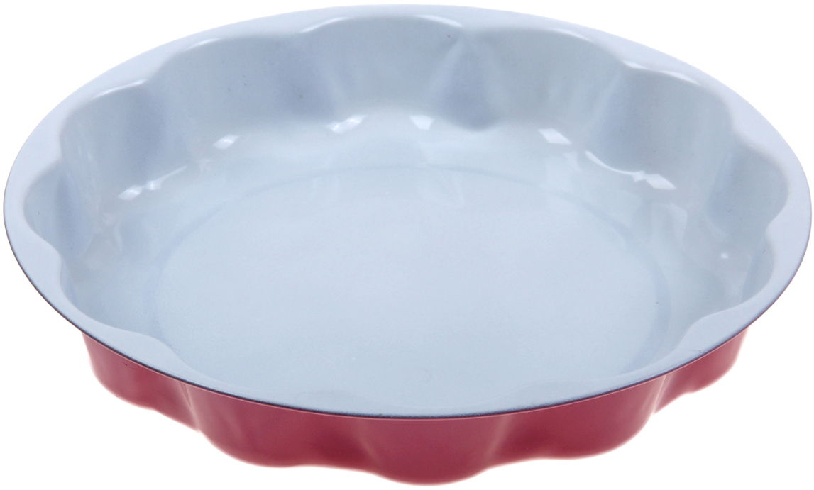 Форма для выпечки Доляна Волнистый круг. Флери, с керамическим покрытием, цвет: белый, красный, 25 х 5 см1001846_белый, красныйФорма для выпечки с керамическим покрытием — один из самых важных предметов на кухне хорошей хозяйки. С качественной посудой радовать домашних пирогами, кексами, запеканками и прочей вкуснятиной вы сможете хоть каждый день! Достоинства изделия: равномерно распределяет тепло по всей внутренней поверхности; предотвращает пригорание пищи; способствует ее быстрому приготовлению; обладает стильным внешним видом. Кроме того, предмет не впитывает запахов и позволяет легко вынимать готовый продукт. Прочный корпус защищает изделие от внешней деформации. Рекомендуется избегать перепадов температуры: ставьте форму только в холодную или теплую духовку. Не допускайте падений и не используйте высокоабразивные моющие средства (это защитит глазурь от сколов и царапин).