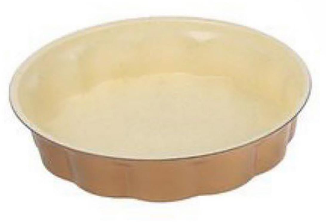 Форма для выпечки Доляна Волнистый круг. Флери, с керамическим покрытием, цвет: бежевый, светло-коричневый, 28 х 6 см1003522_бежевый, светло-коричневыйФорма для выпечки с керамическим покрытием — один из самых важных предметов на кухне хорошей хозяйки. С качественной посудой радовать домашних пирогами, кексами, запеканками и прочей вкуснятиной вы сможете хоть каждый день! Достоинства изделия: равномерно распределяет тепло по всей внутренней поверхности; предотвращает пригорание пищи; способствует ее быстрому приготовлению; обладает стильным внешним видом. Рекомендуется избегать перепадов температуры: ставьте форму только в холодную или теплую духовку. Не допускайте падений изделия и не используйте высокоабразивные моющие средства (это защитит глазурь от сколов и царапин).