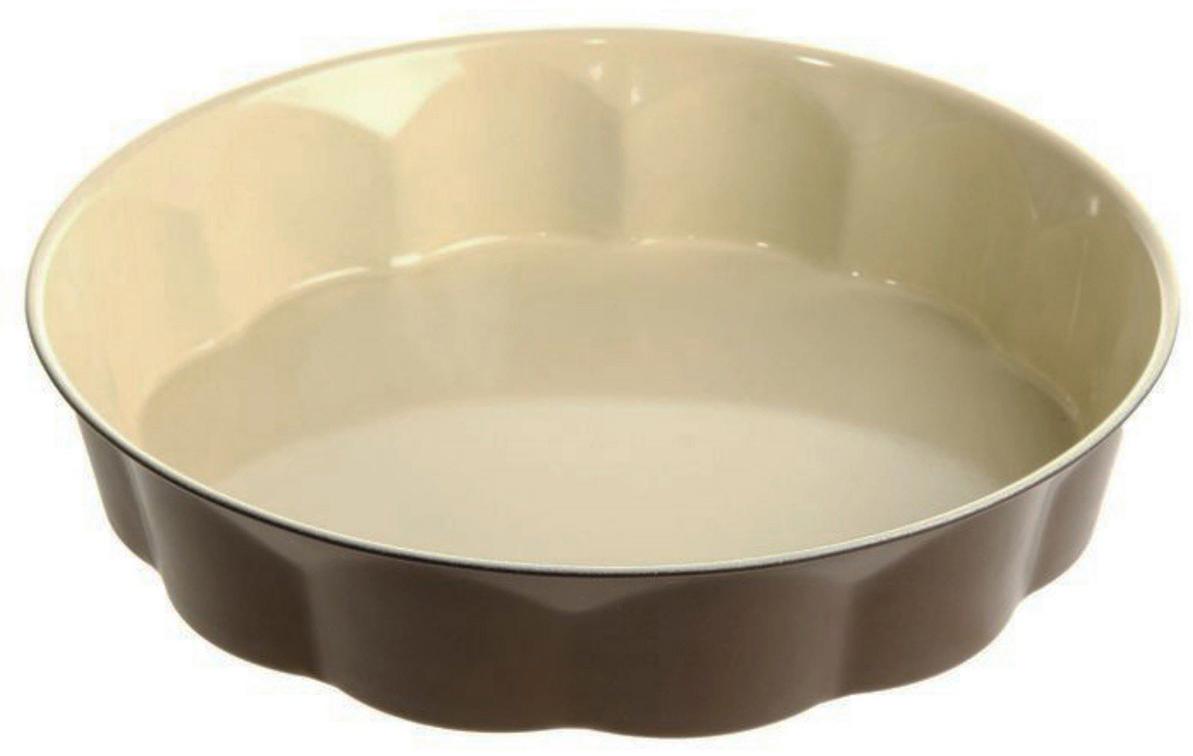 Форма для выпечки Доляна Волнистый круг. Флери, с керамическим покрытием, цвет: бежевый, коричневый, 28 х 6 см1003522_бежевый, коричневыйФорма для выпечки с керамическим покрытием — один из самых важных предметов на кухне хорошей хозяйки. С качественной посудой радовать домашних пирогами, кексами, запеканками и прочей вкуснятиной вы сможете хоть каждый день! Достоинства изделия: равномерно распределяет тепло по всей внутренней поверхности; предотвращает пригорание пищи; способствует ее быстрому приготовлению; обладает стильным внешним видом. Рекомендуется избегать перепадов температуры: ставьте форму только в холодную или теплую духовку. Не допускайте падений изделия и не используйте высокоабразивные моющие средства (это защитит глазурь от сколов и царапин).