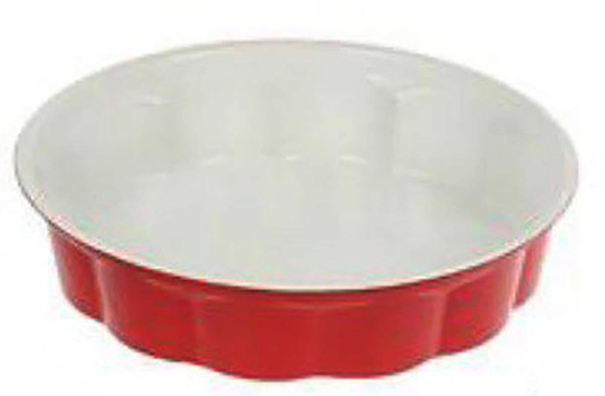 Форма для выпечки Доляна Волнистый круг. Флери, с керамическим покрытием, цвет: белый, красный, 28 х 6 см1003522_белый, красныйФорма для выпечки с керамическим покрытием — один из самых важных предметов на кухне хорошей хозяйки. С качественной посудой радовать домашних пирогами, кексами, запеканками и прочей вкуснятиной вы сможете хоть каждый день! Достоинства изделия: равномерно распределяет тепло по всей внутренней поверхности; предотвращает пригорание пищи; способствует ее быстрому приготовлению; обладает стильным внешним видом. Рекомендуется избегать перепадов температуры: ставьте форму только в холодную или теплую духовку. Не допускайте падений изделия и не используйте высокоабразивные моющие средства (это защитит глазурь от сколов и царапин).