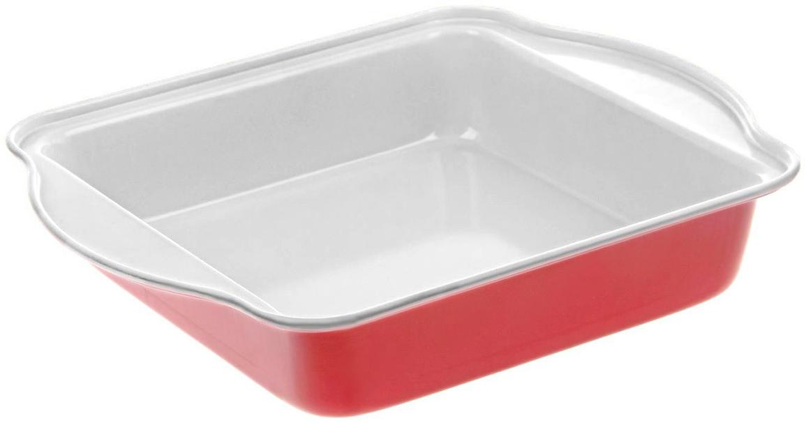 Форма для выпечки Доляна Квадрат. Флери, с керамическим покрытием, цвет: белый, красный, 27 х 22 х 4,5 см774840_белый, красныйФорма для выпечки с керамическим покрытием — один из самых важных предметов на кухне хорошей хозяйки. С качественной посудой радовать домашних пирогами, кексами, запеканками и прочей вкуснятиной вы сможете хоть каждый день! Достоинства изделия: равномерно распределяет тепло по всей внутренней поверхности; предотвращает пригорание пищи; способствует ее быстрому приготовлению; обладает стильным внешним видом. Кроме того, предмет не впитывает запахов и позволяет легко вынимать готовый продукт. Прочный корпус защищает изделие от внешней деформации. Рекомендуется избегать перепадов температуры: ставьте форму только в холодную или теплую духовку. Не допускайте падений и не используйте высокоабразивные моющие средства (это защитит глазурь от сколов и царапин).