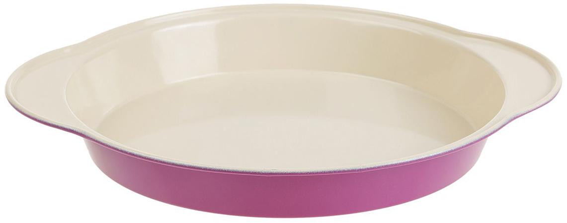 Форма для выпечки Доляна Круг. Флери, с керамическим покрытием, цвет: белый, розовый, 28 х 24 х 3,5 см774835Форма для выпечки с керамическим покрытием — один из самых важных предметов на кухнехорошей хозяйки. С качественной посудой радовать домашних пирогами, кексами, запеканками ипрочей вкуснятиной вы сможете хоть каждый день! Достоинства изделия: равномерно распределяет тепло по всей внутренней поверхности; предотвращает пригорание пищи; способствует ее быстрому приготовлению; обладает стильным внешним видом. Рекомендуется избегать перепадов температуры: ставьте форму только в холодную или теплуюдуховку. Не допускайте падений изделия и не используйте высокоабразивные моющие средства(это защитит глазурь от сколов и царапин).