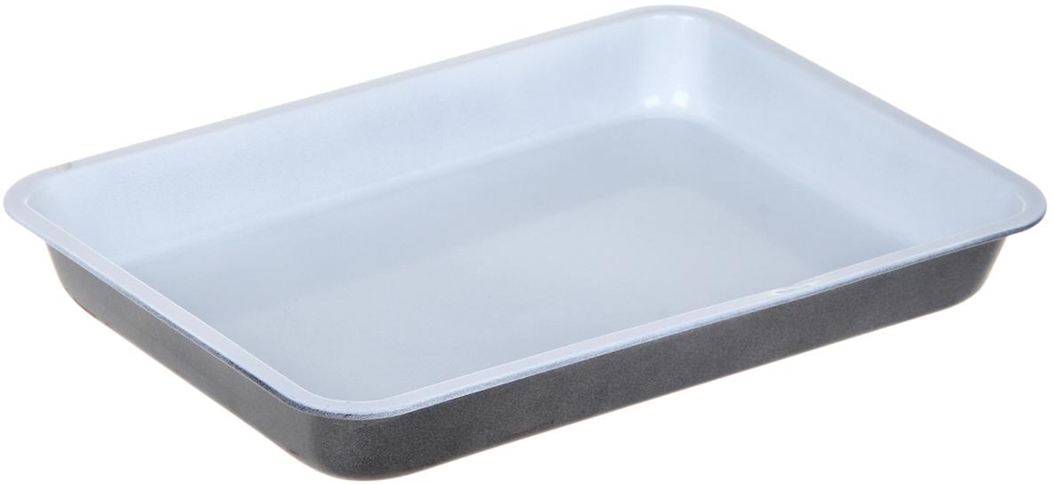 Форма для выпечки Доляна Прямоугольник. Флери, с керамическим покрытием, цвет: белый, черный, 32 х 22 х 4 см1151883_белый, черныйФорма для выпечки с керамическим покрытием — один из самых важных предметов на кухне хорошей хозяйки. С качественной посудой радовать домашних пирогами, кексами, запеканками и прочей вкуснятиной вы сможете хоть каждый день! Достоинства изделия: равномерно распределяет тепло по всей внутренней поверхности; предотвращает пригорание пищи; способствует ее быстрому приготовлению; обладает стильным внешним видом. Кроме того, предмет не впитывает запахов и позволяет легко вынимать готовый продукт. Прочный корпус защищает изделие от внешней деформации. Рекомендуется избегать перепадов температуры: ставьте форму только в холодную или теплую духовку. Не допускайте падений и не используйте высокоабразивные моющие средства (это защитит глазурь от сколов и царапин).