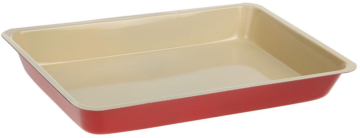Форма для выпечки Доляна Прямоугольник. Флери, с керамическим покрытием, цвет: бежевый, 32 х 22 х 5 см1046819_бежевыйФорма для выпечки с керамическим покрытием — один из самых важных предметов на кухне хорошей хозяйки. С качественной посудой радовать домашних пирогами, кексами, запеканками и прочей вкуснятиной вы сможете хоть каждый день! Достоинства изделия: равномерно распределяет тепло по всей внутренней поверхности; предотвращает пригорание пищи; способствует ее быстрому приготовлению; обладает стильным внешним видом. Кроме того, предмет не впитывает запахов и позволяет легко вынимать готовый продукт. Прочный корпус защищает изделие от внешней деформации. Рекомендуется избегать перепадов температуры: ставьте форму только в холодную или теплую духовку. Не допускайте падений и не используйте высокоабразивные моющие средства (это защитит глазурь от сколов и царапин).