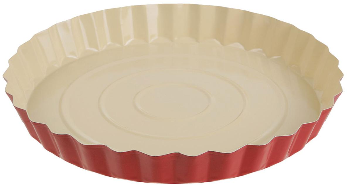 Форма для выпечки Доляна Рифленый круг. Флери, с керамическим покрытием, цвет: белый, красный, 27 х 3,5 см2395151Форма для выпечки с керамическим покрытием — один из самых важных предметов на кухне хорошей хозяйки. С качественной посудой радовать домашних пирогами, кексами, запеканками и прочей вкуснятиной вы сможете хоть каждый день! Достоинства изделия: равномерно распределяет тепло по всей внутренней поверхности; предотвращает пригорание пищи; способствует ее быстрому приготовлению; форма в виде сердца прекрасно подходит для приготовления блюд для романтического вечера или праздничного стола. Кроме того, предмет не впитывает запахов и позволяет легко вынимать готовый продукт. Прочный корпус защищает изделие от внешней деформации. Рекомендуется избегать перепадов температуры: ставьте форму только в холодную или теплую духовку. Не допускайте падений и не используйте высокоабразивные моющие средства (это защитит глазурь от сколов и царапин).