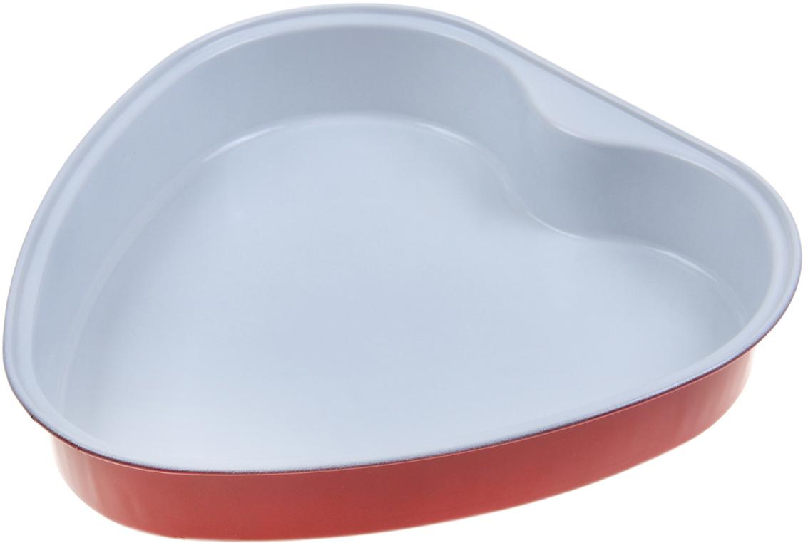 Форма для выпечки Доляна Сердце. Флери, с керамическим покрытием, цвет: белый, красный, 23 х 4 см830056_белый, красныйФорма для выпечки с керамическим покрытием — один из самых важных предметов на кухне хорошей хозяйки. С качественной посудой радовать домашних пирогами, кексами, запеканками и прочей вкуснятиной вы сможете хоть каждый день! Достоинства изделия: равномерно распределяет тепло по всей внутренней поверхности; предотвращает пригорание пищи; способствует ее быстрому приготовлению; обладает стильным внешним видом. Кроме того, предмет не впитывает запахов и позволяет легко вынимать готовый продукт. Прочный корпус защищает изделие от внешней деформации. Рекомендуется избегать перепадов температуры: ставьте форму только в холодную или теплую духовку. Не допускайте падений и не используйте высокоабразивные моющие средства (это защитит глазурь от сколов и царапин).