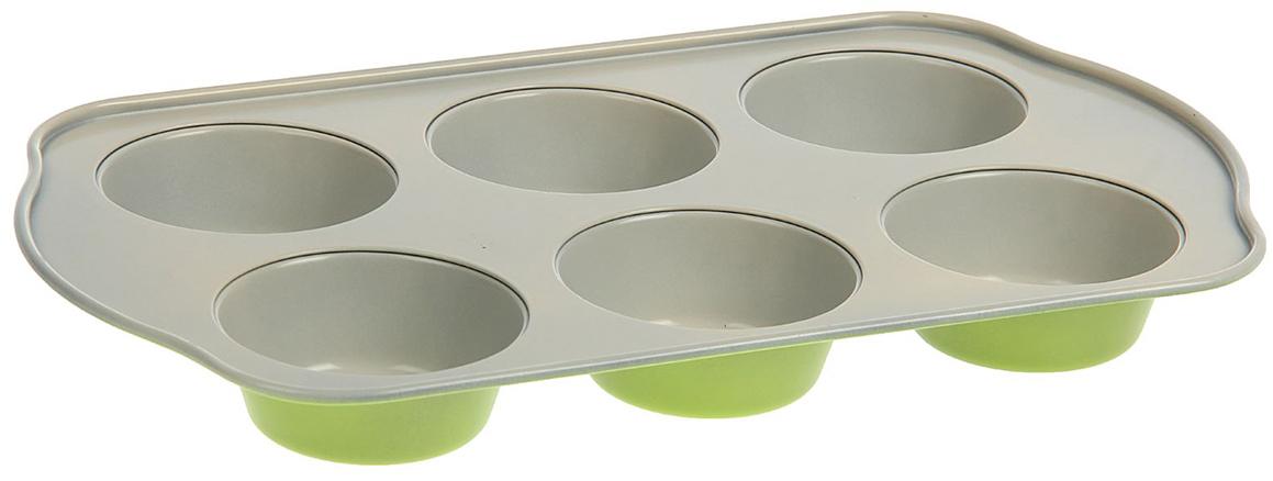 Форма для выпечки Доляна Флери. Круг, с керамическим покрытием, цвет: бежевый, зеленый, 6 ячеек, 28,52 х 17,5 х 3 см827533_бежевый, зеленыйФорма для выпечки с керамическим покрытием — один из самых важных предметов на кухне хорошей хозяйки. С качественной посудой радовать домашних пирогами, кексами, запеканками и прочей вкуснятиной вы сможете хоть каждый день! Достоинства изделия: равномерно распределяет тепло по всей внутренней поверхности; предотвращает пригорание пищи; способствует ее быстрому приготовлению; обладает стильным внешним видом. Кроме того, предмет не впитывает запахов и позволяет легко вынимать готовый продукт. Прочный корпус защищает изделие от внешней деформации. Рекомендуется избегать перепадов температуры: ставьте форму только в холодную или теплую духовку. Не допускайте падений и не используйте высокоабразивные моющие средства (это защитит глазурь от сколов и царапин).