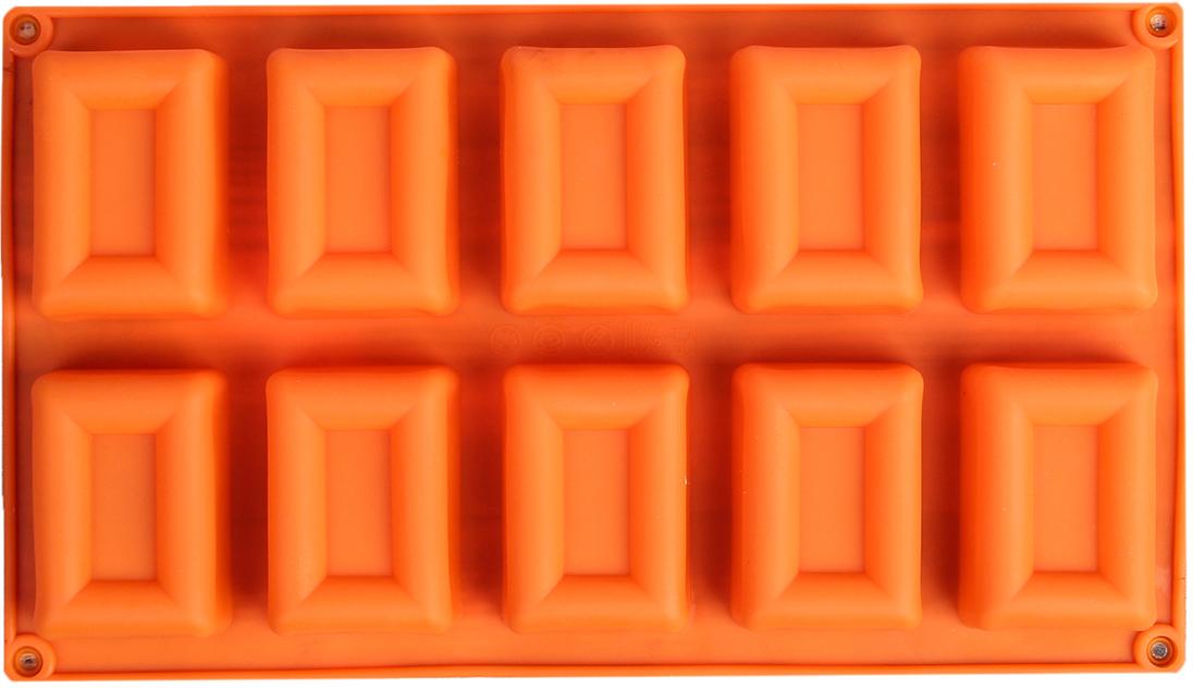 Форма для выпечки Доляна Рамка, цвет: оранжевый, 10 ячеек, 30 х 17 х 2,5 см2570350_оранжевыйОт качества посуды зависит не только вкус еды, но и здоровье человека. — товар, соответствующий российским стандартам качества. Любой хозяйке будет приятно держать его в руках. С нашей посудой и кухонной утварью приготовление еды и сервировка стола превратятся в настоящий праздник.