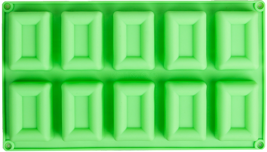 Форма для выпечки Доляна Рамка, цвет: зеленый, 10 ячеек, 30 х 17 х 2,5 см2570350_зеленыйОт качества посуды зависит не только вкус еды, но и здоровье человека. — товар, соответствующий российским стандартам качества. Любой хозяйке будет приятно держать его в руках. С нашей посудой и кухонной утварью приготовление еды и сервировка стола превратятся в настоящий праздник.