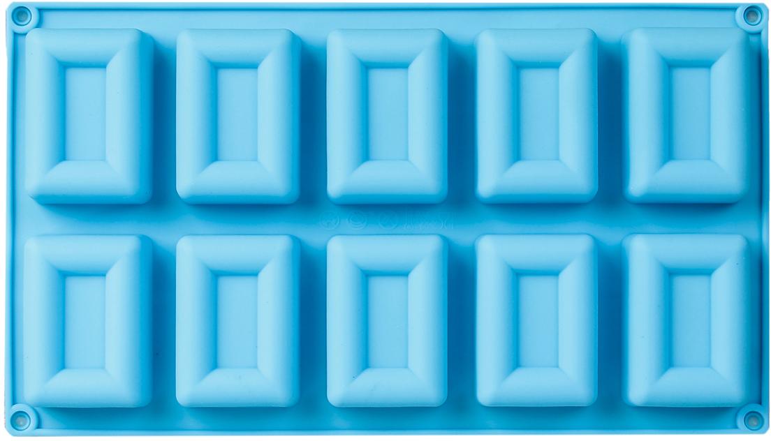 Форма для выпечки Доляна Рамка, цвет: голубой, 10 ячеек, 30 х 17 х 2,5 см2570350_голубойОт качества посуды зависит не только вкус еды, но и здоровье человека. — товар, соответствующий российским стандартам качества. Любой хозяйке будет приятно держать его в руках. С нашей посудой и кухонной утварью приготовление еды и сервировка стола превратятся в настоящий праздник.