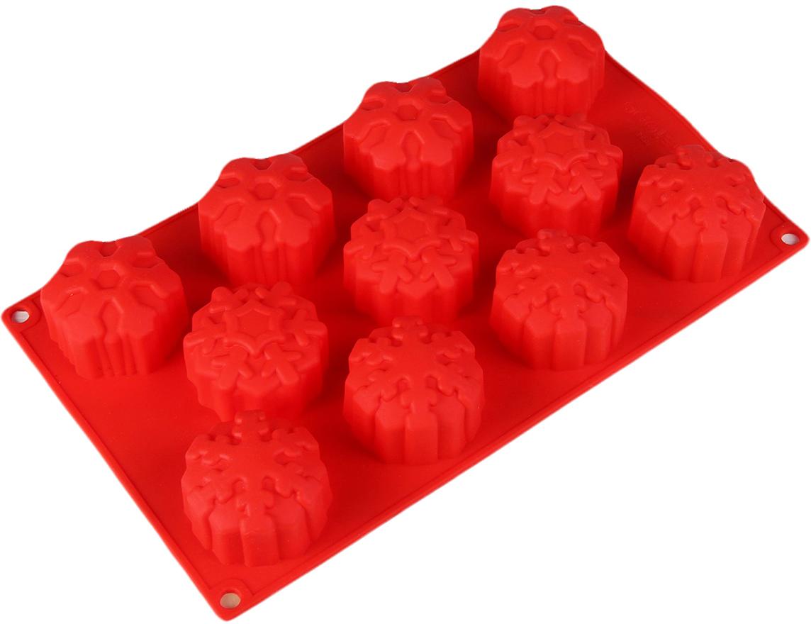 Форма для выпечки Доляна Снежинка, цвет: красный, 11 ячеек, 30 х 17,5 х 3,5 см2389447_красныйФорма для выпечки из силикона — современное решение для практичных и радушных хозяек. Оригинальный предмет позволяет готовить вкуснейшую выпечку — кексы и печенье. Почему это изделие должно быть на кухне? блюдо сохраняет нужную форму и легко отделяется от стенок после приготовления; высокая термостойкость (от –40 до 230 ?) позволяет применять форму в духовых шкафах и морозильных камерах; небольшая масса делает эксплуатацию предмета простой даже для хрупкой женщины; силикон пригоден для посудомоечных машин; высокопрочный материал делает форму долговечным инструментом; при хранении предмет занимает мало места. Советы по использованию формы Перед первым применением промойте предмет теплой водой. В процессе приготовления используйте кухонный инструмент из дерева, пластика или силикона. Перед извлечением блюда из силиконовой формы дайте ему немного остыть, осторожно отогните края предмета. Готовьте с удовольствием!