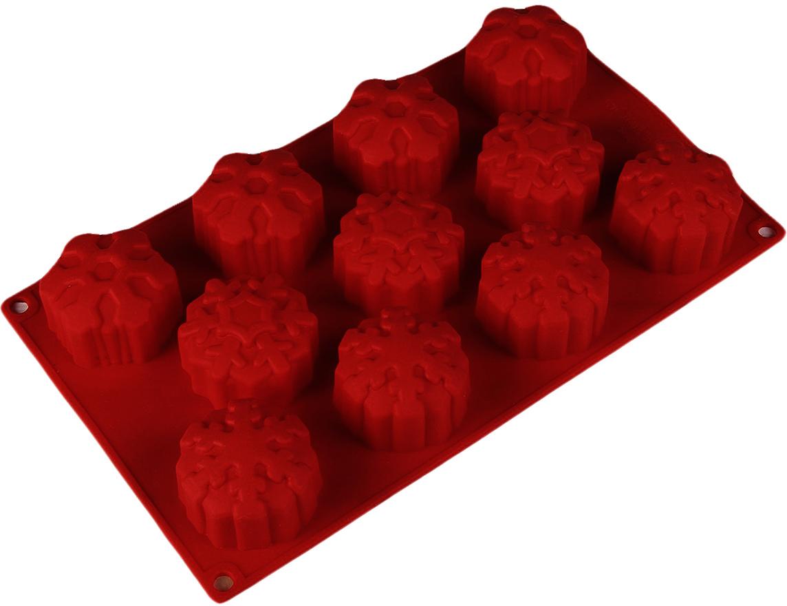Форма для выпечки Доляна Снежинка, цвет: бордовый, 11 ячеек, 30 х 17,5 х 3,5 см2389447_бордовыйФорма для выпечки из силикона — современное решение для практичных и радушных хозяек. Оригинальный предмет позволяет готовить вкуснейшую выпечку — кексы и печенье. Почему это изделие должно быть на кухне? блюдо сохраняет нужную форму и легко отделяется от стенок после приготовления; высокая термостойкость (от –40 до 230 ?) позволяет применять форму в духовых шкафах и морозильных камерах; небольшая масса делает эксплуатацию предмета простой даже для хрупкой женщины; силикон пригоден для посудомоечных машин; высокопрочный материал делает форму долговечным инструментом; при хранении предмет занимает мало места. Советы по использованию формы Перед первым применением промойте предмет теплой водой. В процессе приготовления используйте кухонный инструмент из дерева, пластика или силикона. Перед извлечением блюда из силиконовой формы дайте ему немного остыть, осторожно отогните края предмета. Готовьте с удовольствием!