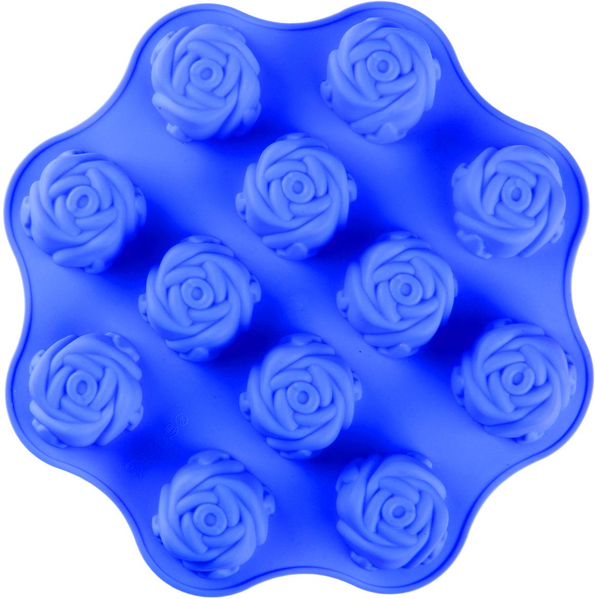 Форма для выпечки Доляна Море роз, цвет: синий, 12 ячеек, 25 х 25 х 3 см1000374_синийФорма для выпечки из силикона — современное решение для практичных и радушных хозяек. Оригинальный предмет позволяет готовить вкуснейшую выпечку — кексы, запеканки и печенье. Почему это изделие должно быть на кухне? блюдо сохраняет нужную форму и легко отделяется от стенок после приготовления; высокая термостойкость (от –40 до 230 ?) позволяет применять форму в духовых шкафах и морозильных камерах; небольшая масса делает эксплуатацию предмета простой даже для хрупкой женщины; силикон пригоден для посудомоечных машин; высокопрочный материал делает форму долговечным инструментом; при хранении предмет занимает мало места. Советы по использованию формы Перед первым применением промойте предмет теплой водой. В процессе приготовления используйте кухонный инструмент из дерева, пластика или силикона. Перед извлечением блюда из силиконовой формы дайте ему немного остыть, осторожно отогните края предмета. Готовьте с удовольствием!