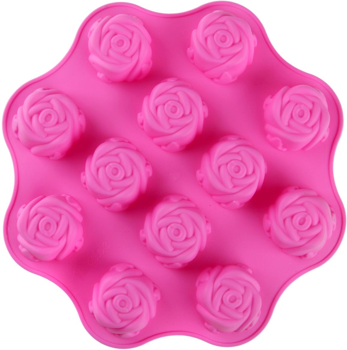 Форма для выпечки Доляна Море роз, цвет: розовый, 12 ячеек, 25 х 25 х 3 см1000374_розовыйФорма для выпечки из силикона — современное решение для практичных и радушных хозяек. Оригинальный предмет позволяет готовить вкуснейшую выпечку — кексы, запеканки и печенье. Почему это изделие должно быть на кухне? блюдо сохраняет нужную форму и легко отделяется от стенок после приготовления; высокая термостойкость (от –40 до 230 ?) позволяет применять форму в духовых шкафах и морозильных камерах; небольшая масса делает эксплуатацию предмета простой даже для хрупкой женщины; силикон пригоден для посудомоечных машин; высокопрочный материал делает форму долговечным инструментом; при хранении предмет занимает мало места. Советы по использованию формы Перед первым применением промойте предмет теплой водой. В процессе приготовления используйте кухонный инструмент из дерева, пластика или силикона. Перед извлечением блюда из силиконовой формы дайте ему немного остыть, осторожно отогните края предмета. Готовьте с удовольствием!