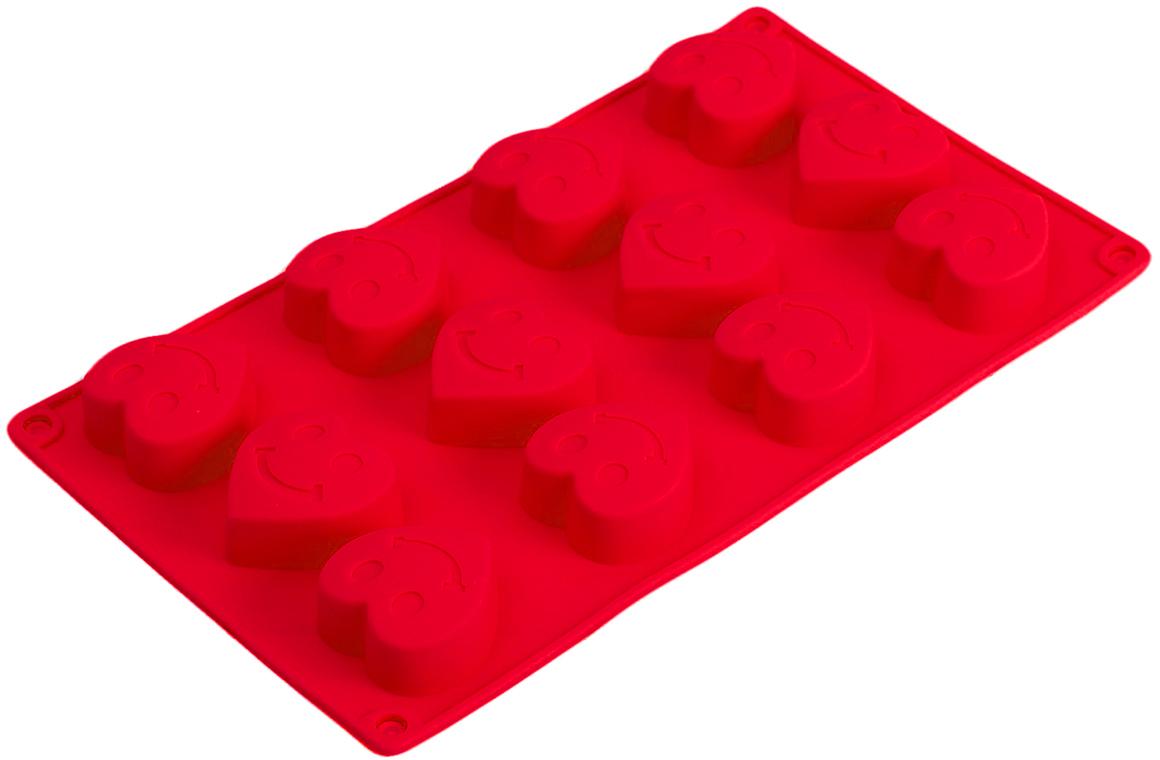 Форма для выпечки Доляна Улыбчивое сердце, цвет: красный, 12 ячеек, 28,5 х 16,5 х 2,2 см2797133_красныйОт качества посуды зависит не только вкус еды, но и здоровье человека. Форма для выпечки 28,5х16,5х2,2 см Улыбчивое сердце, 12 ячеек, цвета — товар, соответствующий российским стандартам качества. Любой хозяйке будет приятно держать его в руках. С нашей посудой и кухонной утварью приготовление еды и сервировка стола превратятся в настоящий праздник. Как выбрать форму для выпечки – статья на OZON Гид.