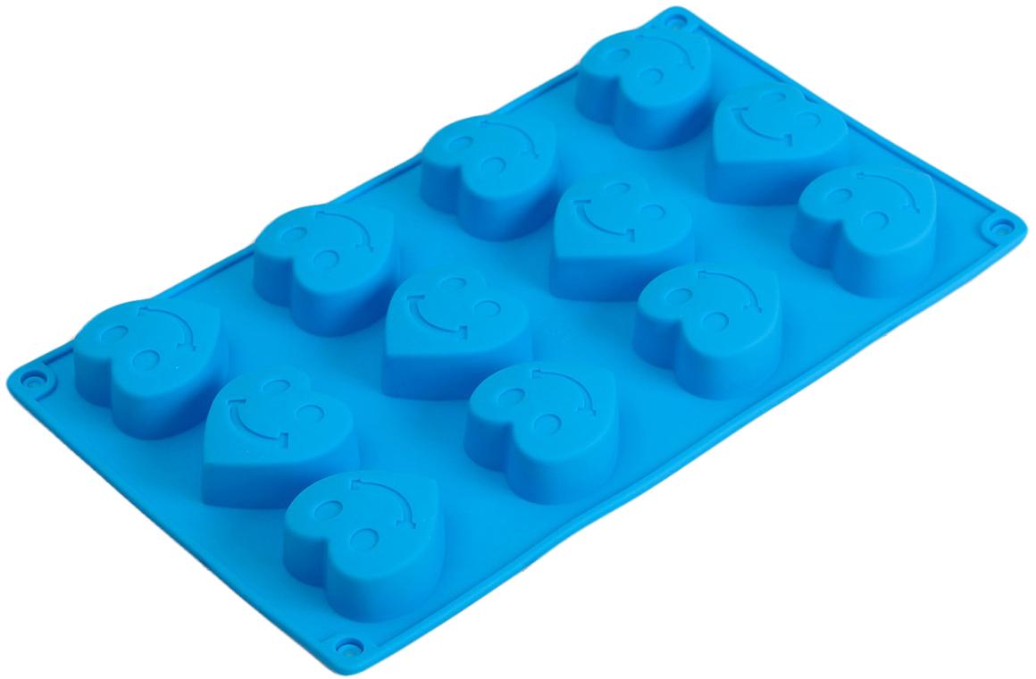 Форма для выпечки Доляна Улыбчивое сердце, цвет: голубой, 12 ячеек, 28,5 х 16,5 х 2,2 см набор формочек для выпечки сердце 2 шт 631190