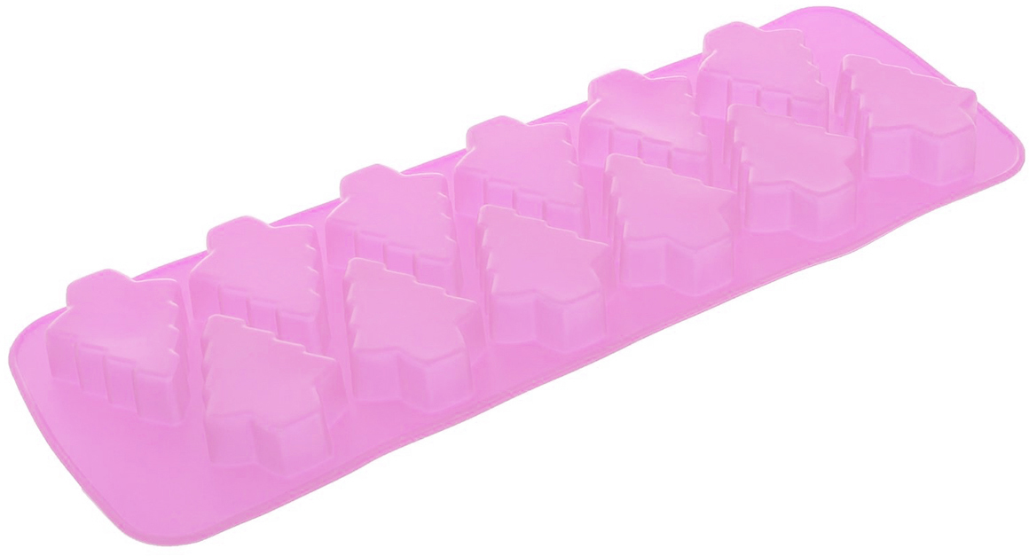 Форма для выпечки Доляна Елочка, цвет: розовый, 12 ячеек, 32,5 х 11,5 х 2,3 см2389053_розовыйФорма для выпечки из силикона — современное решение для практичных и радушных хозяек. Оригинальный предмет позволяет готовить в духовке любимые блюда из мяса, рыбы, птицы и овощей, а также вкуснейшую выпечку. Почему это изделие должно быть на кухне? блюдо сохраняет нужную форму и легко отделяется от стенок после приготовления; высокая термостойкость (от –40 до 230 ?) позволяет применять форму в духовых шкафах и морозильных камерах; небольшая масса делает эксплуатацию предмета простой даже для хрупкой женщины; силикон пригоден для посудомоечных машин; высокопрочный материал делает форму долговечным инструментом; при хранении предмет занимает мало места. Советы по использованию формы Перед первым применением промойте предмет теплой водой. В процессе приготовления используйте кухонный инструмент из дерева, пластика или силикона. Перед извлечением блюда из силиконовой формы дайте ему немного остыть, осторожно отогните края предмета. Готовьте с удовольствием!
