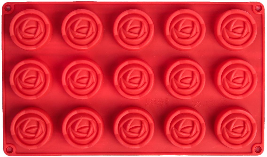 Форма для выпечки Доляна Роза. Бутон, цвет: красный, 15 ячеек, 29,5 х 17,5 х 2 см2570343_красныйОт качества посуды зависит не только вкус еды, но и здоровье человека. — товар, соответствующий российским стандартам качества. Любой хозяйке будет приятно держать его в руках. С нашей посудой и кухонной утварью приготовление еды и сервировка стола превратятся в настоящий праздник.