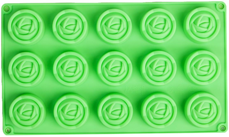 Форма для выпечки Доляна Роза. Бутон, цвет: зеленый, 15 ячеек, 29,5 х 17,5 х 2 см2570343_зеленыйОт качества посуды зависит не только вкус еды, но и здоровье человека. — товар, соответствующий российским стандартам качества. Любой хозяйке будет приятно держать его в руках. С нашей посудой и кухонной утварью приготовление еды и сервировка стола превратятся в настоящий праздник. Как выбрать форму для выпечки – статья на OZON Гид.