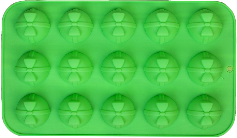 Форма для выпечки Доляна Шар с бантом, цвет: зеленый, 15 ячеек, 29,5 х 17,5 х 2,7 см2570347_зеленыйОт качества посуды зависит не только вкус еды, но и здоровье человека. — товар, соответствующий российским стандартам качества. Любой хозяйке будет приятно держать его в руках. С нашей посудой и кухонной утварью приготовление еды и сервировка стола превратятся в настоящий праздник.