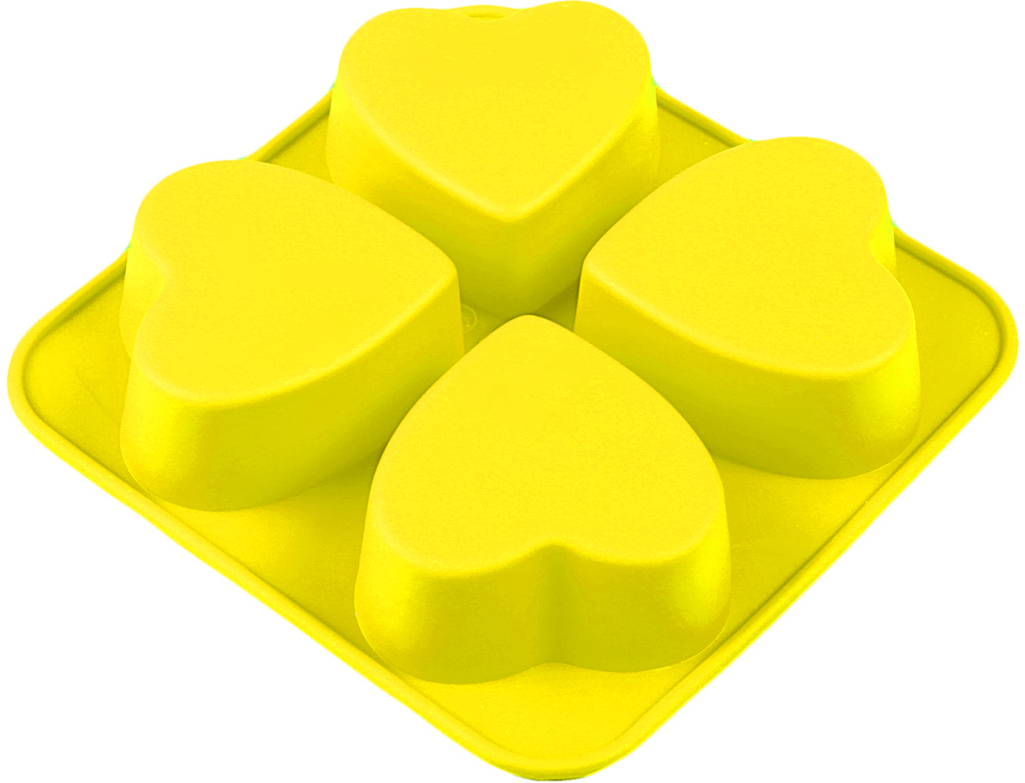 Форма для выпечки Доляна Сердца, цвет: желтый, 4 ячейки, 16 х 16 х 3 см123158_желтыйФорма для выпечки из силикона — современное решение для практичных и радушных хозяек. Оригинальный предмет позволяет готовить вкуснейшую выпечку — кексы, запеканки и печенье. Почему это изделие должно быть на кухне? блюдо сохраняет нужную форму и легко отделяется от стенок после приготовления; высокая термостойкость (от –40 до 230 ?) позволяет применять форму в духовых шкафах и морозильных камерах; небольшая масса делает эксплуатацию предмета простой даже для хрупкой женщины; силикон пригоден для посудомоечных машин; высокопрочный материал делает форму долговечным инструментом; при хранении предмет занимает мало места. Советы по использованию формы Перед первым применением промойте предмет теплой водой. В процессе приготовления используйте кухонный инструмент из дерева, пластика или силикона. Перед извлечением блюда из силиконовой формы дайте ему немного остыть, осторожно отогните края предмета. Готовьте с удовольствием!
