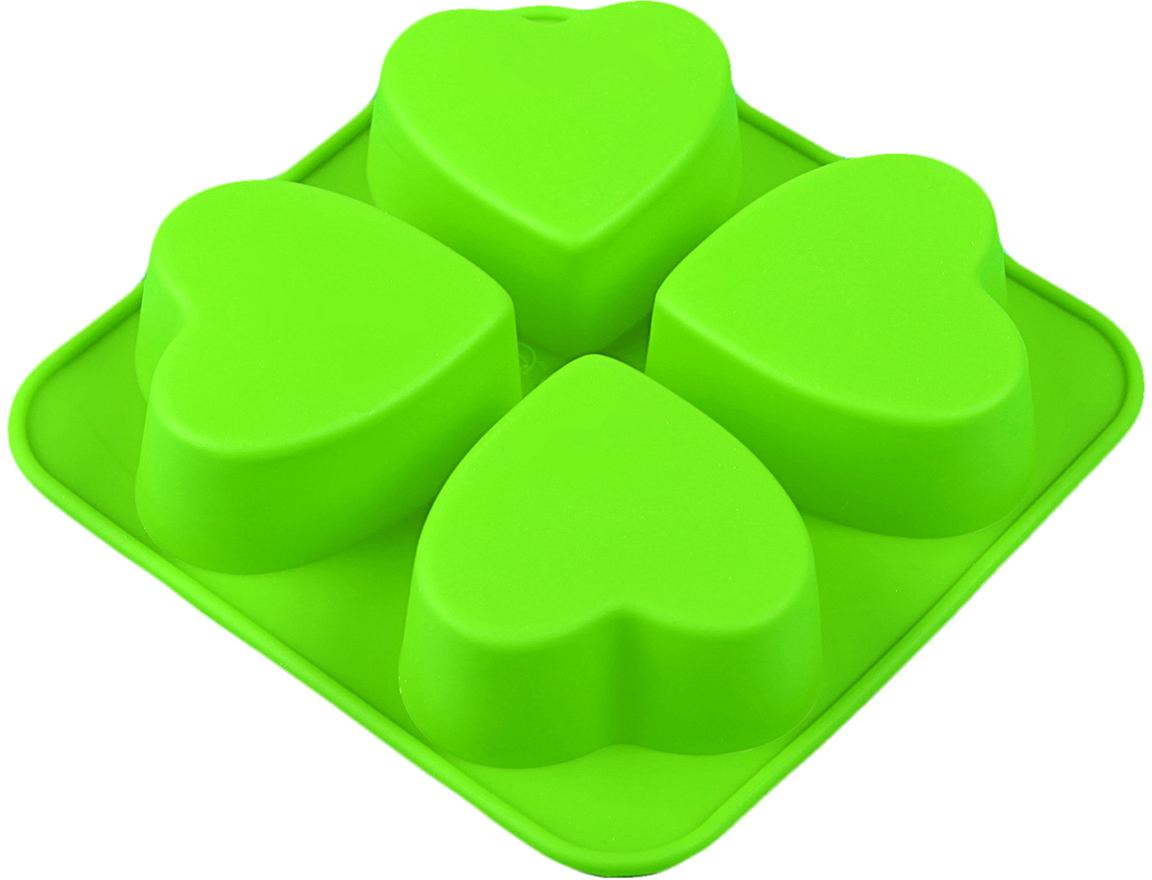 Форма для выпечки Доляна Сердца, цвет: зеленый, 4 ячейки, 16 х 16 х 3 см123158_зеленыйФорма для выпечки из силикона — современное решение для практичных и радушных хозяек. Оригинальный предмет позволяет готовить вкуснейшую выпечку — кексы, запеканки и печенье. Почему это изделие должно быть на кухне? блюдо сохраняет нужную форму и легко отделяется от стенок после приготовления; высокая термостойкость (от –40 до 230 ?) позволяет применять форму в духовых шкафах и морозильных камерах; небольшая масса делает эксплуатацию предмета простой даже для хрупкой женщины; силикон пригоден для посудомоечных машин; высокопрочный материал делает форму долговечным инструментом; при хранении предмет занимает мало места. Советы по использованию формы Перед первым применением промойте предмет теплой водой. В процессе приготовления используйте кухонный инструмент из дерева, пластика или силикона. Перед извлечением блюда из силиконовой формы дайте ему немного остыть, осторожно отогните края предмета. Готовьте с удовольствием!