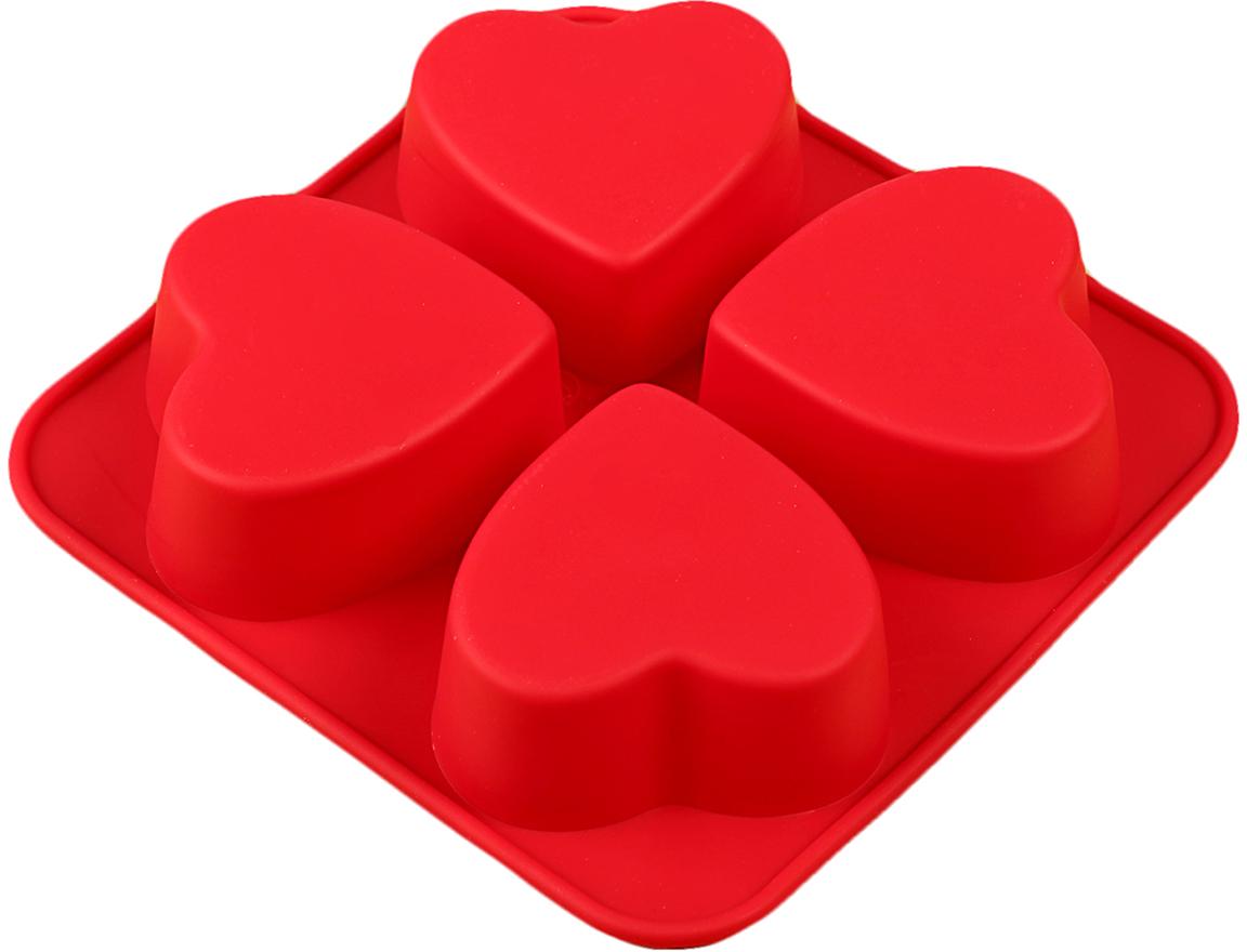 Форма для выпечки Доляна Сердца, цвет: красный, 4 ячейки, 16 х 16 х 3 см123158_красныйФорма для выпечки из силикона — современное решение для практичных и радушных хозяек. Оригинальный предмет позволяет готовить вкуснейшую выпечку — кексы, запеканки и печенье. Почему это изделие должно быть на кухне? блюдо сохраняет нужную форму и легко отделяется от стенок после приготовления; высокая термостойкость (от –40 до 230 ?) позволяет применять форму в духовых шкафах и морозильных камерах; небольшая масса делает эксплуатацию предмета простой даже для хрупкой женщины; силикон пригоден для посудомоечных машин; высокопрочный материал делает форму долговечным инструментом; при хранении предмет занимает мало места. Советы по использованию формы Перед первым применением промойте предмет теплой водой. В процессе приготовления используйте кухонный инструмент из дерева, пластика или силикона. Перед извлечением блюда из силиконовой формы дайте ему немного остыть, осторожно отогните края предмета. Готовьте с удовольствием!