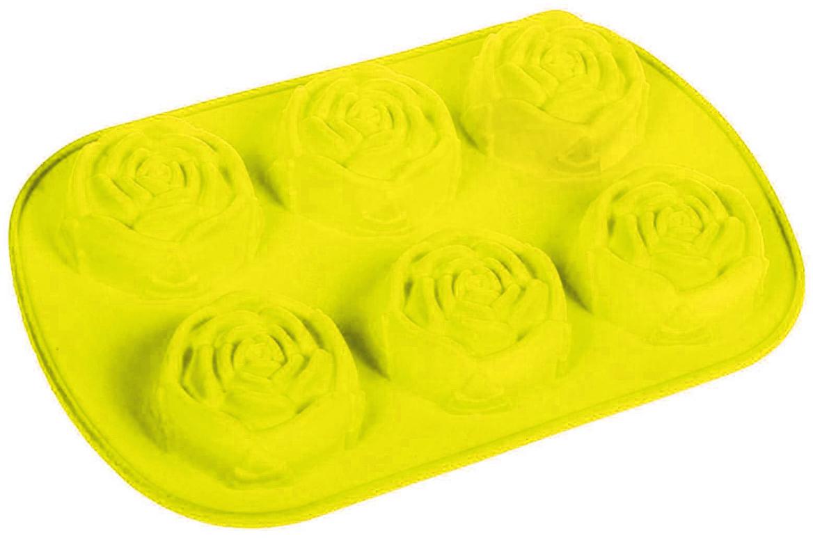 Форма для выпечки Доляна Роза, цвет: желтый, 6 ячеек, 17,5 х 26 см630819_желтыйФорма для выпечки из силикона — современное решение для практичных и радушных хозяек. Оригинальный предмет позволяет готовить вкуснейшую выпечку — кексы, запеканки и печенье. Почему это изделие должно быть на кухне? блюдо сохраняет нужную форму и легко отделяется от стенок после приготовления; высокая термостойкость (от –40 до 230 ?) позволяет применять форму в духовых шкафах и морозильных камерах; небольшая масса делает эксплуатацию предмета простой даже для хрупкой женщины; силикон пригоден для посудомоечных машин; высокопрочный материал делает форму долговечным инструментом; при хранении предмет занимает мало места. Советы по использованию формы Перед первым применением промойте предмет теплой водой. В процессе приготовления используйте кухонный инструмент из дерева, пластика или силикона. Перед извлечением блюда из силиконовой формы дайте ему немного остыть, осторожно отогните края предмета. Готовьте с удовольствием!
