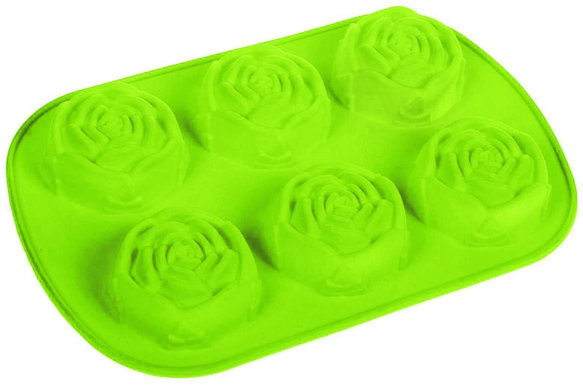 Форма для выпечки Доляна Роза, цвет: зеленый, 6 ячеек, 17,5 х 26 см630819_зеленыйФорма для выпечки из силикона — современное решение для практичных и радушных хозяек. Оригинальный предмет позволяет готовить вкуснейшую выпечку — кексы, запеканки и печенье. Почему это изделие должно быть на кухне? блюдо сохраняет нужную форму и легко отделяется от стенок после приготовления; высокая термостойкость (от –40 до 230 ?) позволяет применять форму в духовых шкафах и морозильных камерах; небольшая масса делает эксплуатацию предмета простой даже для хрупкой женщины; силикон пригоден для посудомоечных машин; высокопрочный материал делает форму долговечным инструментом; при хранении предмет занимает мало места. Советы по использованию формы Перед первым применением промойте предмет теплой водой. В процессе приготовления используйте кухонный инструмент из дерева, пластика или силикона. Перед извлечением блюда из силиконовой формы дайте ему немного остыть, осторожно отогните края предмета. Готовьте с удовольствием! Как выбрать форму для выпечки – статья на OZON Гид.