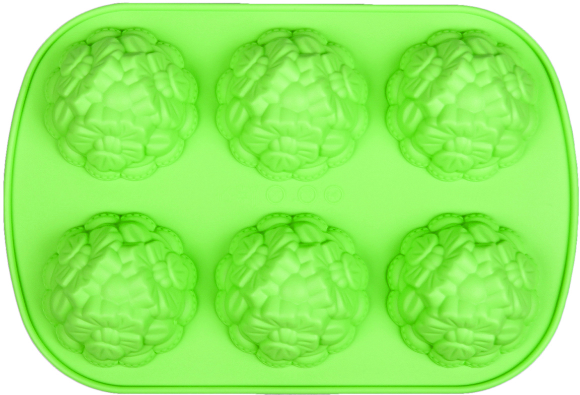 Форма для выпечки Доляна Торжество, цвет: зеленый, 6 ячеек, 21 х 4,9 х 2 см630813_зеленыйФорма для выпечки из силикона — современное решение для практичных и радушных хозяек. Оригинальный предмет позволяет готовить в духовке любимые блюда из мяса, рыбы, птицы и овощей, а также вкуснейшую выпечку. Почему это изделие должно быть на кухне? блюдо сохраняет нужную форму и легко отделяется от стенок после приготовления; высокая термостойкость (от –40 до 230 ?) позволяет применять форму в духовых шкафах и морозильных камерах; небольшая масса делает эксплуатацию предмета простой даже для хрупкой женщины; силикон пригоден для посудомоечных машин; высокопрочный материал делает форму долговечным инструментом; при хранении предмет занимает мало места. Советы по использованию формы Перед первым применением промойте предмет теплой водой. В процессе приготовления используйте кухонный инструмент из дерева, пластика или силикона. Перед извлечением блюда из силиконовой формы дайте ему немного остыть, осторожно отогните края предмета. Готовьте с удовольствием!