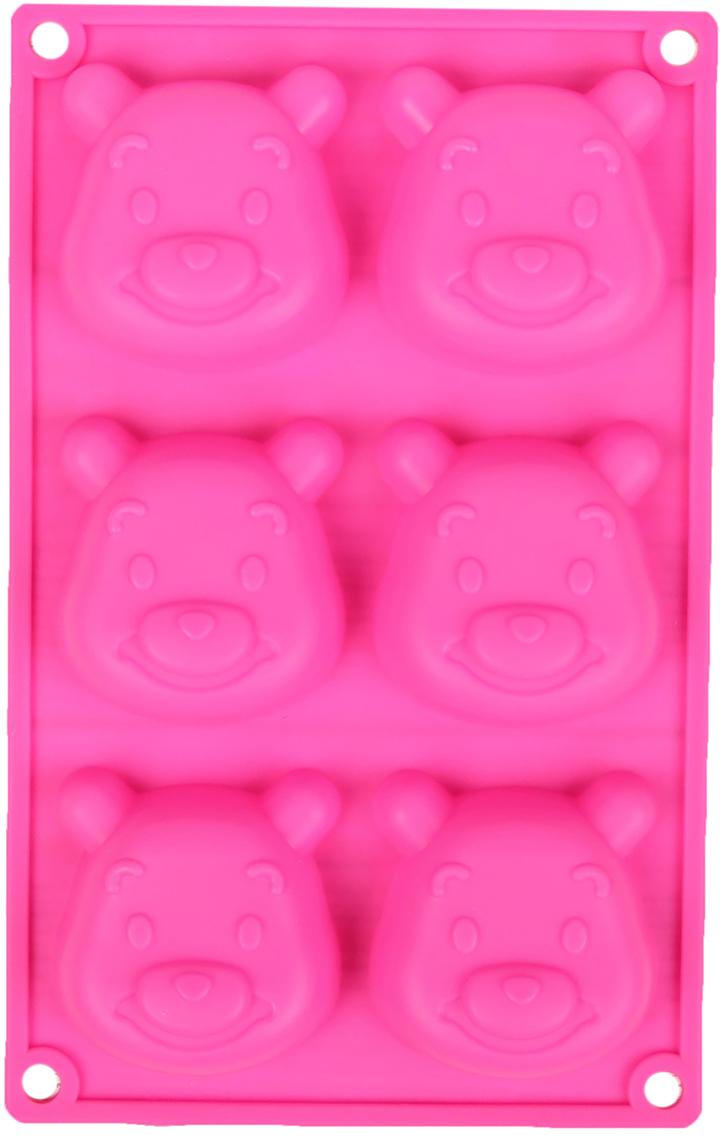 Форма для выпечки Доляна Мишутка, цвет: розовый, 6 ячеек, 23,5 х 14,8 х 2,5 см2581342_розовыйОт качества посуды зависит не только вкус еды, но и здоровье человека. — товар, соответствующий российским стандартам качества. Любой хозяйке будет приятно держать его в руках. С нашей посудой и кухонной утварью приготовление еды и сервировка стола превратятся в настоящий праздник.