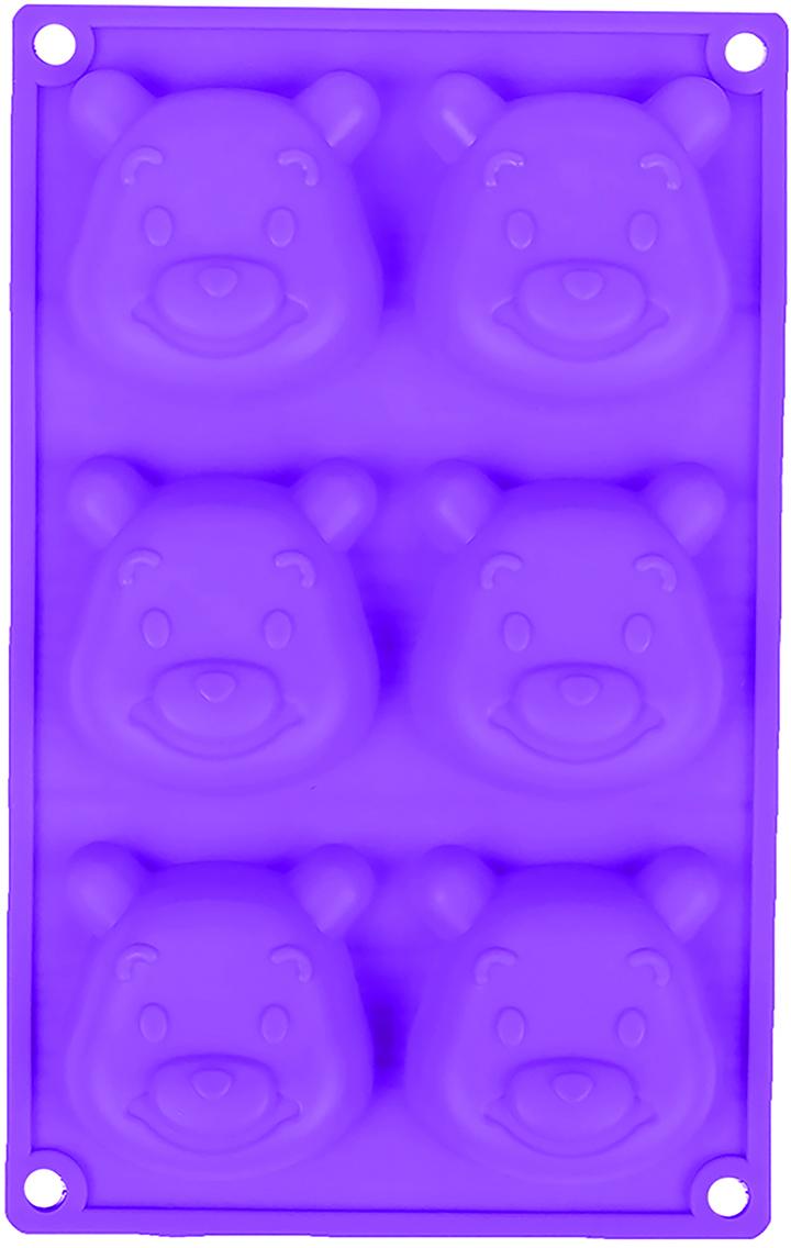 Форма для выпечки Доляна Мишутка, цвет: фиолетовый, 6 ячеек, 23,5 х 14,8 х 2,5 см2581342_фиолетовыйОт качества посуды зависит не только вкус еды, но и здоровье человека. — товар, соответствующий российским стандартам качества. Любой хозяйке будет приятно держать его в руках. С нашей посудой и кухонной утварью приготовление еды и сервировка стола превратятся в настоящий праздник.