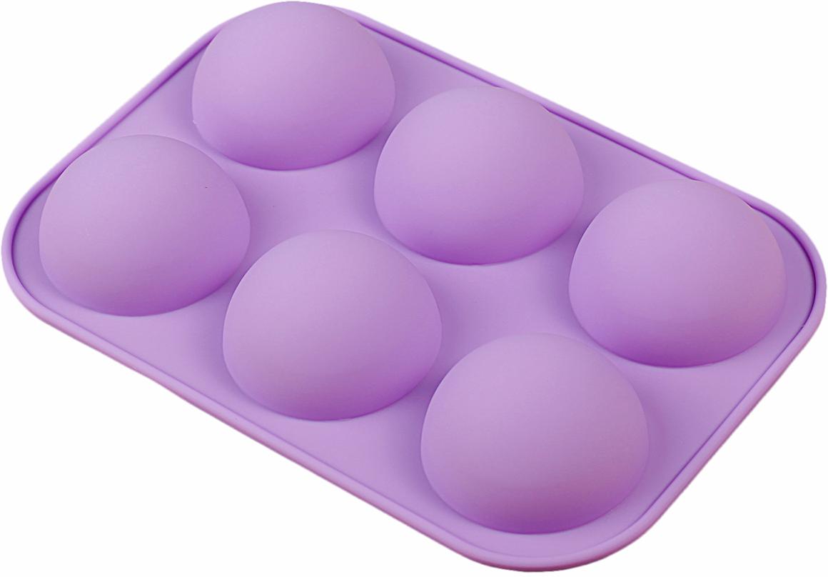 Форма для выпечки Доляна Шар, цвет: фиолетовый, 6 ячеек, 24 х 16 х 3,5 см2582074_фиолетовыйОт качества посуды зависит не только вкус еды, но и здоровье человека. — товар, соответствующий российским стандартам качества. Любой хозяйке будет приятно держать его в руках. С нашей посудой и кухонной утварью приготовление еды и сервировка стола превратятся в настоящий праздник.