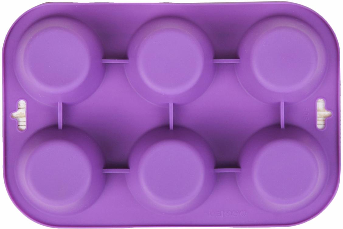 Форма для выпечки Доляна Круг, цвет: фиолетовый, 6 ячеек, 24 х 17 х 3 см1000338_фиолетовыйФорма для выпечки из силикона — современное решение для практичных и радушных хозяек. Оригинальный предмет позволяет готовить в духовке любимые блюда из мяса, рыбы, птицы и овощей, а также вкуснейшую выпечку. Почему это изделие должно быть на кухне? блюдо сохраняет нужную форму и легко отделяется от стенок после приготовления; высокая термостойкость (от –40 до 230 ?) позволяет применять форму в духовых шкафах и морозильных камерах; небольшая масса делает эксплуатацию предмета простой даже для хрупкой женщины; силикон пригоден для посудомоечных машин; высокопрочный материал делает форму долговечным инструментом; при хранении предмет занимает мало места. Советы по использованию формы Перед первым применением промойте предмет теплой водой. В процессе приготовления используйте кухонный инструмент из дерева, пластика или силикона. Перед извлечением блюда из силиконовой формы дайте ему немного остыть, осторожно отогните края предмета. Готовьте с удовольствием!