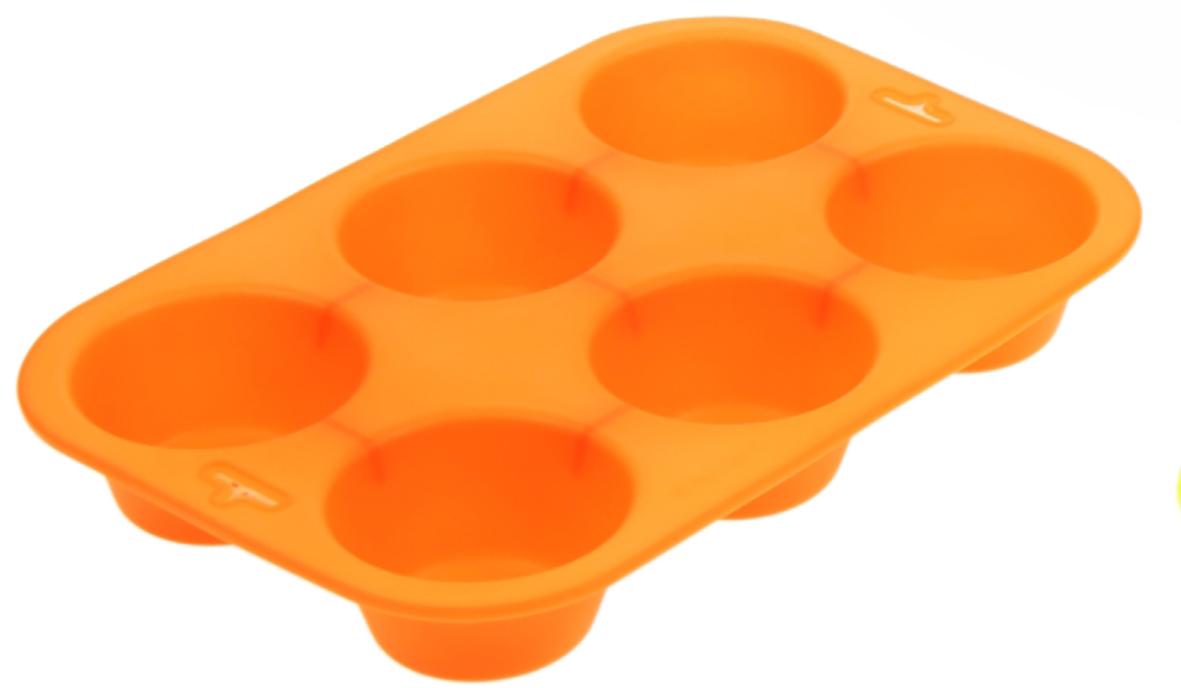 Форма для выпечки Доляна Круг, цвет: оранжевый, 6 ячеек, 24 х 17 х 3 см1000338_оранжевыйФорма для выпечки из силикона — современное решение для практичных и радушных хозяек. Оригинальный предмет позволяет готовить в духовке любимые блюда из мяса, рыбы, птицы и овощей, а также вкуснейшую выпечку. Почему это изделие должно быть на кухне? блюдо сохраняет нужную форму и легко отделяется от стенок после приготовления; высокая термостойкость (от –40 до 230 ?) позволяет применять форму в духовых шкафах и морозильных камерах; небольшая масса делает эксплуатацию предмета простой даже для хрупкой женщины; силикон пригоден для посудомоечных машин; высокопрочный материал делает форму долговечным инструментом; при хранении предмет занимает мало места. Советы по использованию формы Перед первым применением промойте предмет теплой водой. В процессе приготовления используйте кухонный инструмент из дерева, пластика или силикона. Перед извлечением блюда из силиконовой формы дайте ему немного остыть, осторожно отогните края предмета. Готовьте с удовольствием!