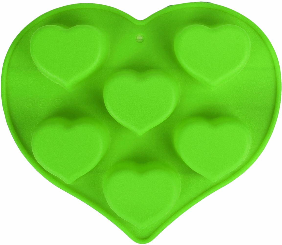 Форма для выпечки Доляна Сердце, цвет: зеленый, 6 ячеек, 25 х 22 х 3,5 см2929718_зеленыйОт качества посуды зависит не только вкус еды, но и здоровье человека. — товар, соответствующий российским стандартам качества. Любой хозяйке будет приятно держать его в руках. С нашей посудой и кухонной утварью приготовление еды и сервировка стола превратятся в настоящий праздник. Как выбрать форму для выпечки – статья на OZON Гид.