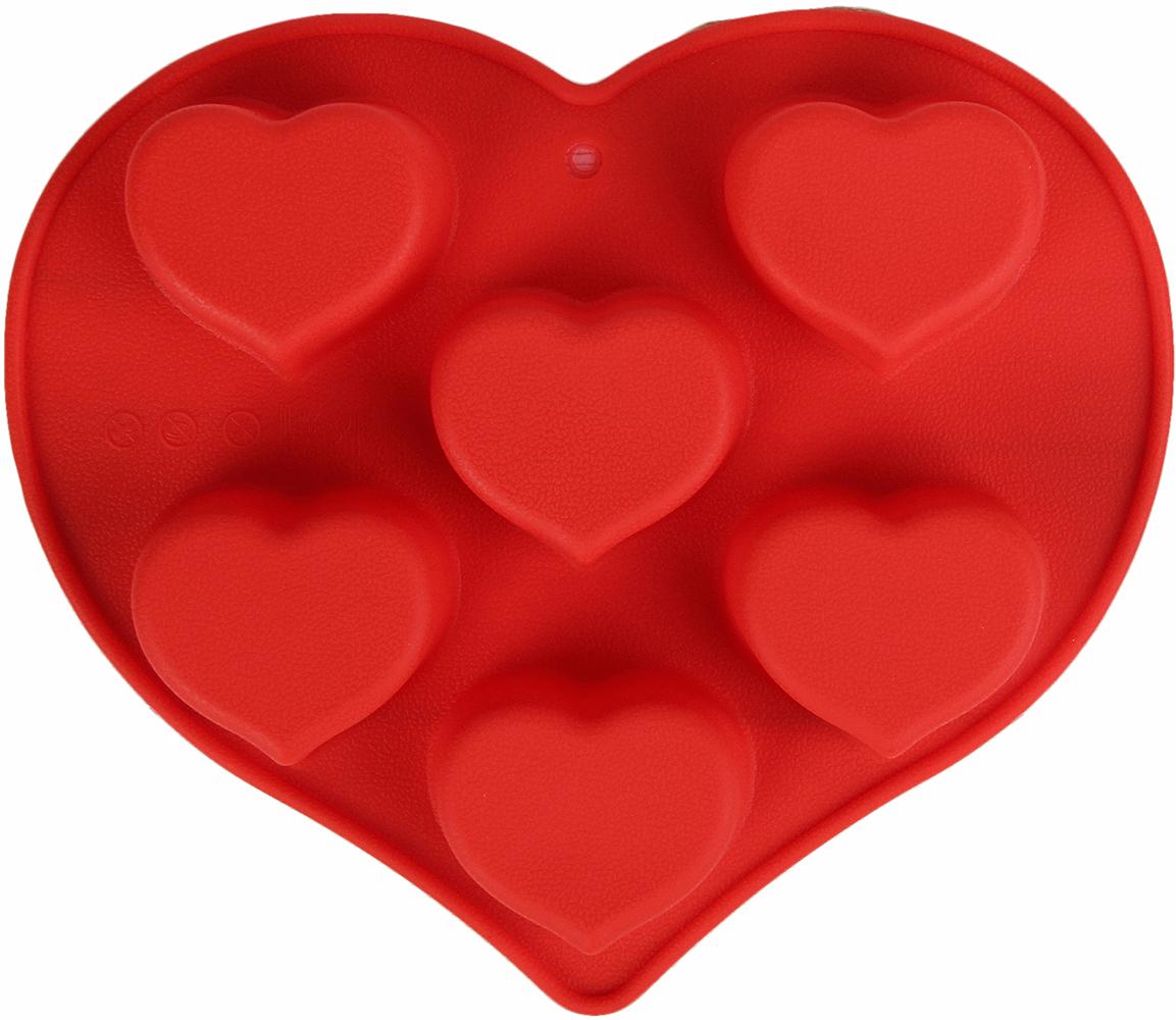 Форма для выпечки Доляна Сердце, цвет: красный, 6 ячеек, 25 х 22 х 3,5 см2929718_красныйОт качества посуды зависит не только вкус еды, но и здоровье человека. — товар, соответствующий российским стандартам качества. Любой хозяйке будет приятно держать его в руках. С нашей посудой и кухонной утварью приготовление еды и сервировка стола превратятся в настоящий праздник.